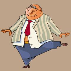 cartoon bald fat man in a suit gaily dances