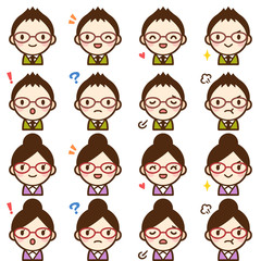 Isolated set of glasses young teacher man & woman avatar expressions