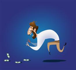 Vector illustration on finding easy money