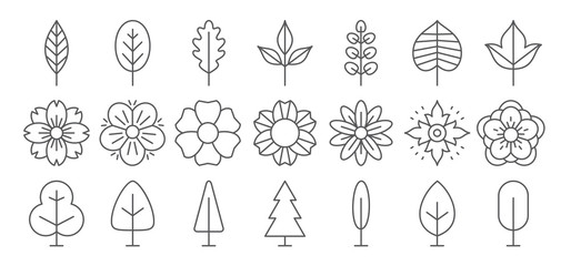 Flower, leaf and tree line icon set. Vector collection. Different thin simple outline