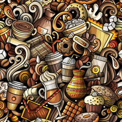 Cartoon cute doodles hand drawn Coffee Shop seamless pattern