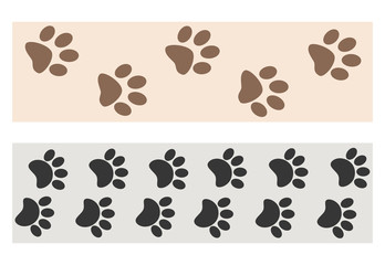 Paw prints dog banner set for your design.