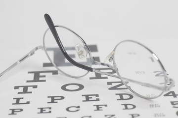 Eyeglasses on eyesight test chart background.