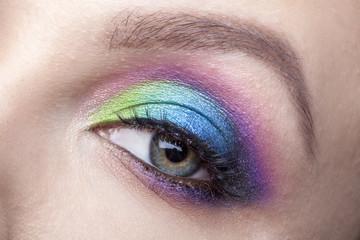 Eye Makeup. Beautiful Eyes Glitter Make-up. Holiday Makeup detail. False Lashes