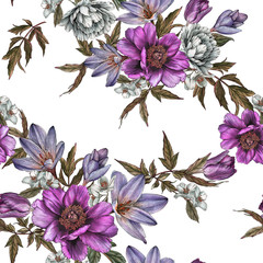 Floral seamless pattern with watercolor peonies, roses, tulips and jasmine flowers
