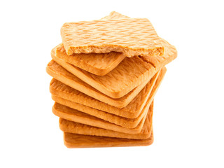 A stack of cookies on an isolated background