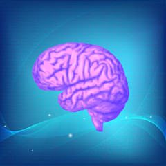 Human brain. Blue science background, purple image. Vector medical illustration.