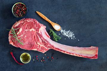 Dry aged raw tomahawk  steak