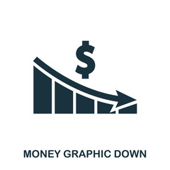 Money Graphic Down icon. Flat style icon design. UI. Illustration of money graphic down icon. Pictogram isolated on white. Ready to use in web design, apps, software, print.