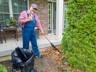 Happy gardener or worker raking up dead leaves