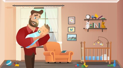 Father Holding Son at Home Interior Child Room. Baby Sleep on Father's Hands. Vector Illustration of Cartoon Character. Handsome Man Indoor with Kid. Fathers Day Concept.