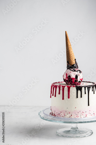 Easy Birthday Ice Cream Cone Cake With Pink And Chocolate Ganache On A Light Background Vertical Copy Space Celebration Concept Trendy Drip