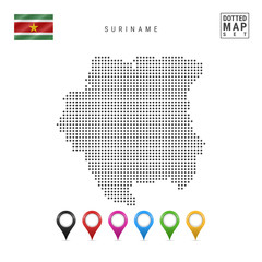 Vector Dotted Map of Suriname. Simple Silhouette of Suriname. National Flag of Suriname. Set of Multicolored Map Markers