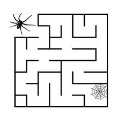Labyrinth for children. A black spider goes through a maze on the white background. Vector flat illustration