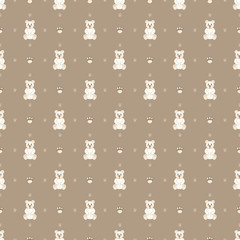 White teddy bear on a brown background. Seamless pattern with bears.