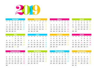Calendrier Francais 2019.Calendrier 2019 Francais Avec Jours Feries Modifiable