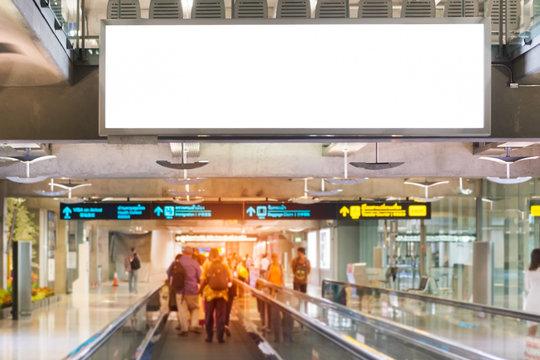 Blank advertising billboard at airport,mockup poster media template ads display