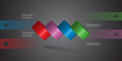 3D illustration infographic template with cylinder horizontally sliced to four spilled parts