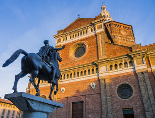 Close-up of Regisole equestrian monument in front of the Cathedral of Pavia, Lombardy, Italy