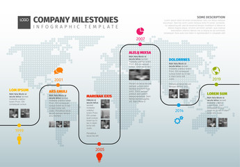 World Map Timeline Infographic Layout