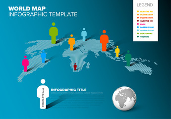 World Map Pictogram Infographic Layout