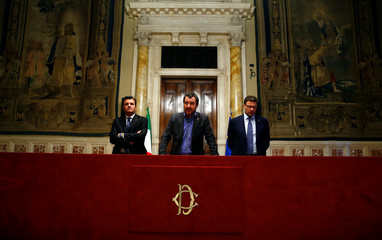 League party leader Matteo Salvini speaks at the media after a round of consultations with Italy's newly appointed Prime Minister Giuseppe Conte at the Lower House in Rome