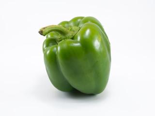 Fresh green sweet pepper on white background.