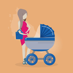 Vector pregnant woman with a stroller.