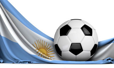 Soccer ball on the flag of Argentina. Football background. 3D Rendering