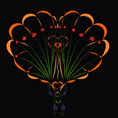 Loving man on a parachute, heart and flowers