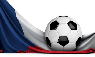 Soccer ball on the flag of Czech Republic. Football background. 3D Rendering