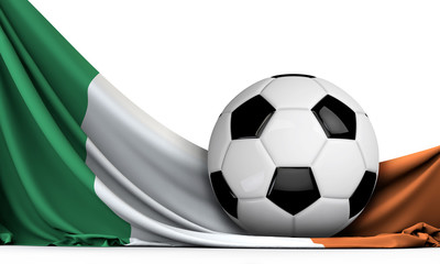 Soccer ball on the flag of Ireland. Football background. 3D Rendering