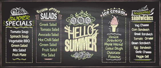 Summer menu chalkboard design concept