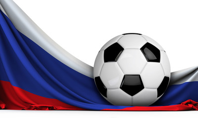 Soccer ball on the flag of Russia. Football background. 3D Rendering