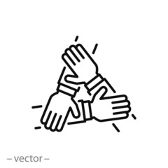 three hands support each other, concept of teamwork, icon vector