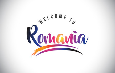 Romania Welcome To Message in Purple Vibrant Modern Colors.