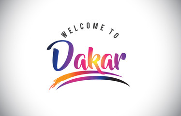 Dakar Welcome To Message in Purple Vibrant Modern Colors.