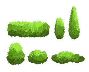 Vector illustration set of garden green bushes and decorative trees different shapes. Shrub and bush collection in cartoon style isolated on white background.