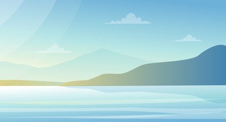 Vector illustration beautiful landscape with lake and mountains in pastel colors. Nature background, sea view in flat style.