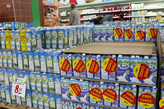 Cartons of milk products are seen in a supermarket in Rabat