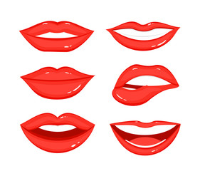 Vector illustration set of woman s lip gestures. Girl mouths in different positions, emotions, close up with red lipstick makeup in flat style on white background.