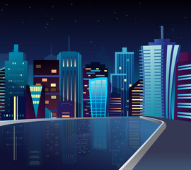 Vector illustration of night cityscape with lake and lights reflection.