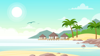 Vector illustration of sea beach with hotel. Beautiful small villas on the ocean seaside. Summer landscape, vacation concept in flat style.