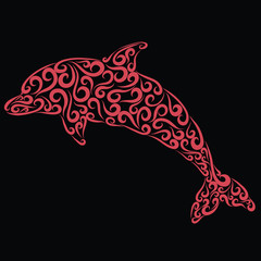 Dolphin of curls on a black background