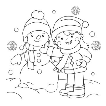 Coloring Page Outline Of cartoon girl making snowman. Winter. Coloring book for kids