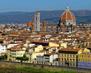 Overlook of the iconic medieval Cattedrale di Santa Maria del Fiore in Florence, Tuscany, Italy