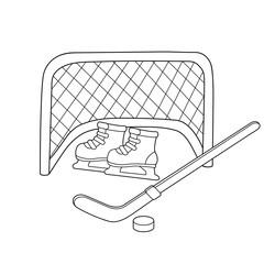 Hockey. Skates. Hockey stick. Winter sports. Coloring book for kids