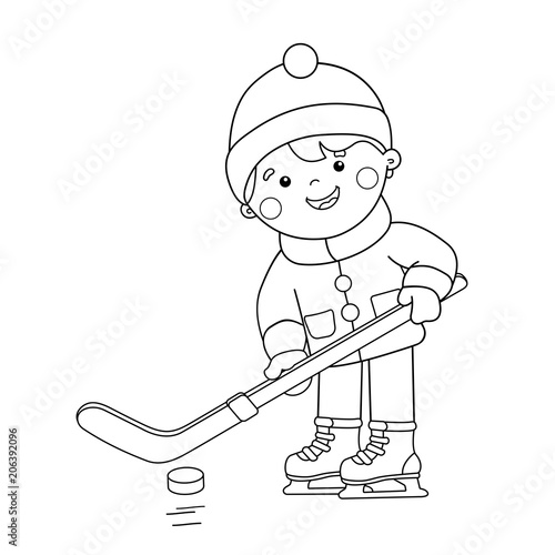 Coloring Page Outline Of cartoon boy playing hockey. Winter sports ...