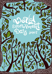 World Environment day poster. World Environment day and June 5 lettering. Vector illustration with trees and leaves