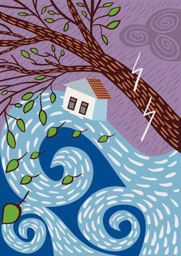 Tsunami hitting a city. Flood Disaster. Vector Illustration